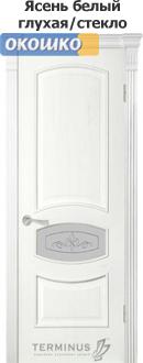 дверь терминус каро модель 50 цвет ясень белый со стеклянной вставкой