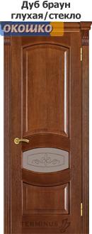 дверь терминус каро модель 50 дуб браун глухая вставка и стекло