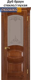 дверь терминус каро модель 50 остекленная с рисунком плюс филенка дуб браун