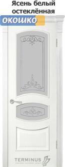терминус серия каро дверь 50 ясень белый два стекла с рисунками