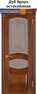 дверь терминус каро модель 50 цвет дуб браун остекленная