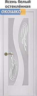 дверь терминус модерн модель 15 матовое стекло с рисунком ясень