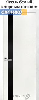 терминус двери серии урбан модель 21 белый ясень черное стекло