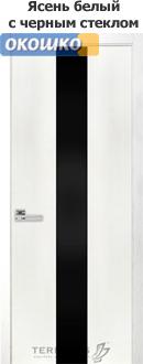 терминус двери серии урбан модель 23 белый ясень черное стекло
