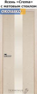 дверь межкомнатная терминус урбан модель 23 ясень латте стеклянная вставка